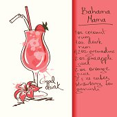 Illustration with hand drawn Bahama Mama cocktail. Included Ai