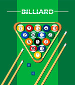 Illustration with billiards concept, on green background with balls, billiard cues and cue