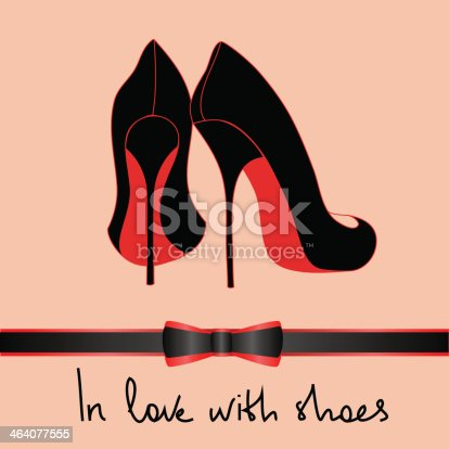 istock Illustration with black pair of shoes 464077555
