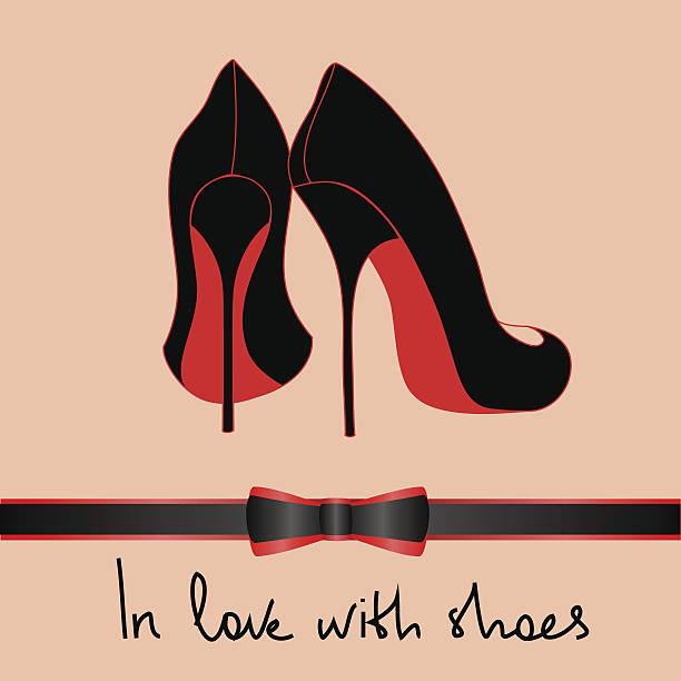 stockillustraties, clipart, cartoons en iconen met illustration with black pair of shoes - hoge hakken