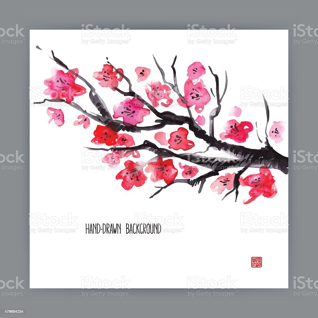 illustration with blooming sakura vector art illustration