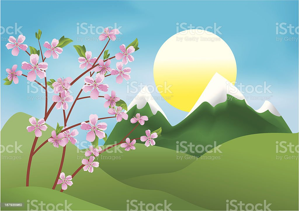 illustration with branches of peach vector art illustration
