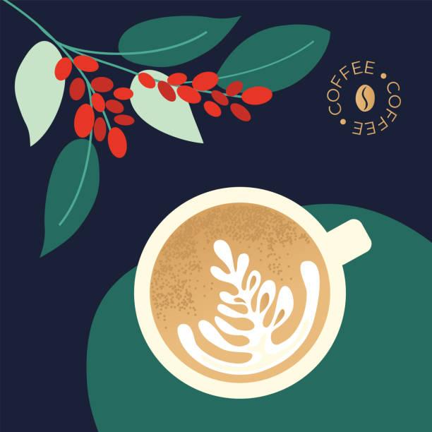 ilustraciones, imágenes clip art, dibujos animados e iconos de stock de ilustración con capuchino y ramas de árbol de café - barista