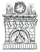 Illustration of fireplace with socks and Christmas decorations, hand drawn chimney with candles