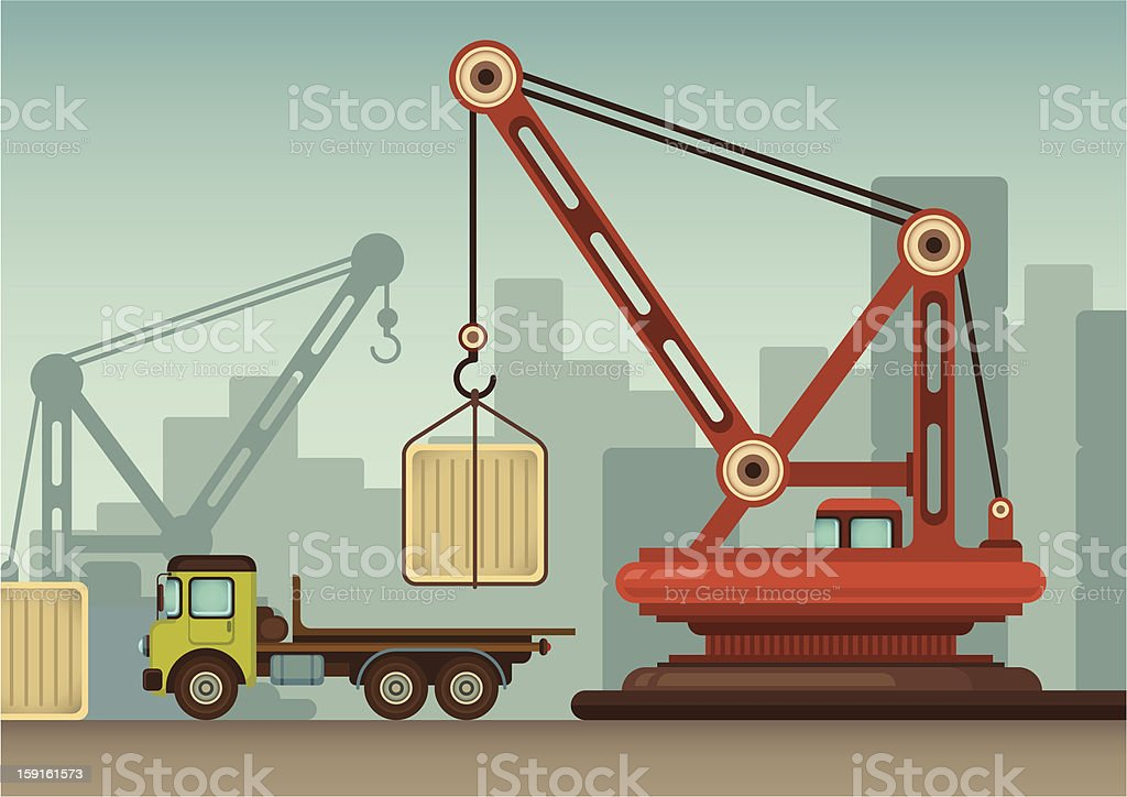 Illustration with crane. royalty-free stock vector art