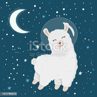 Illustration with cute alpaca astronaut on starry space background. Perfect for posters, greeting cards and other design. Cute llama