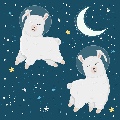 Illustration with cute alpaca astronauts on starry space background. Perfect for posters, greeting cards and other design. Cute llama