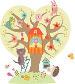 Illustration. Funny animals. Tree and Characters.