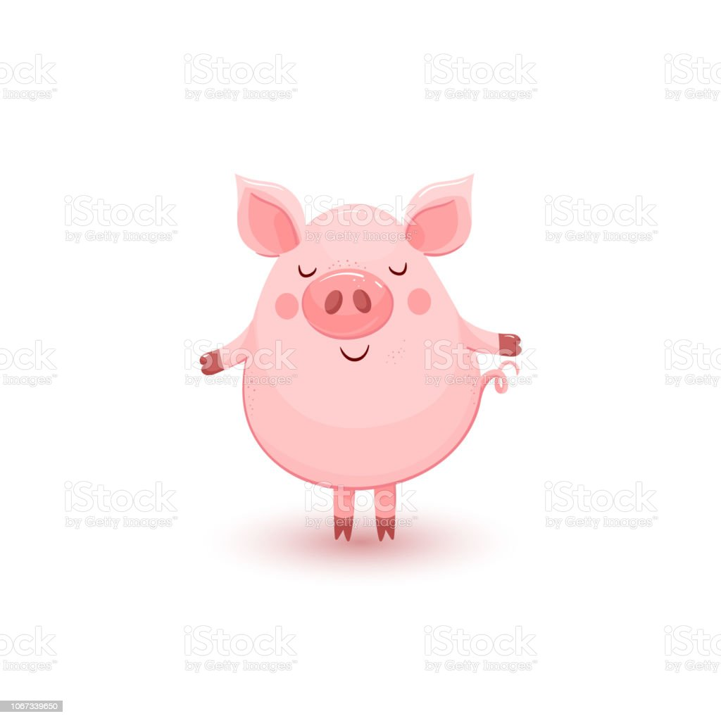 Illustration with cute standing pink pig vector art illustration