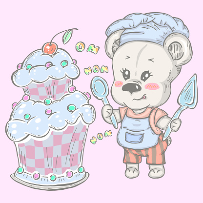 Illustration with cute teddy bear confectioner with cake.
