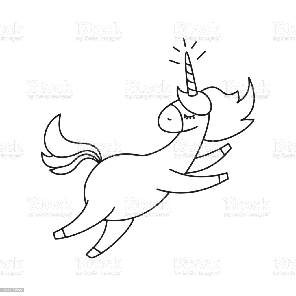 Illustration With Cute Unicorn For Coloring Book Stock Vector Art