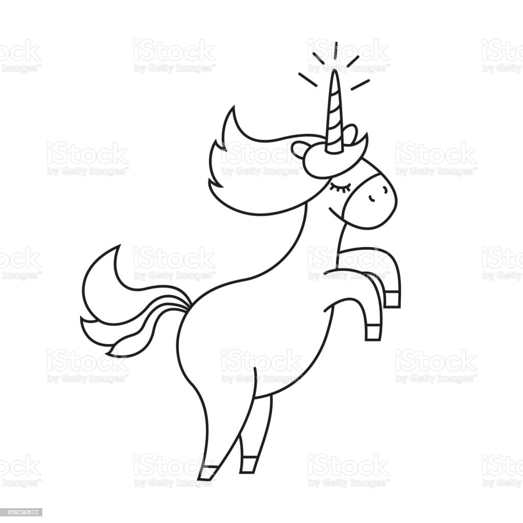 Illustration With Cute Unicorn For Coloring Book Royalty Free