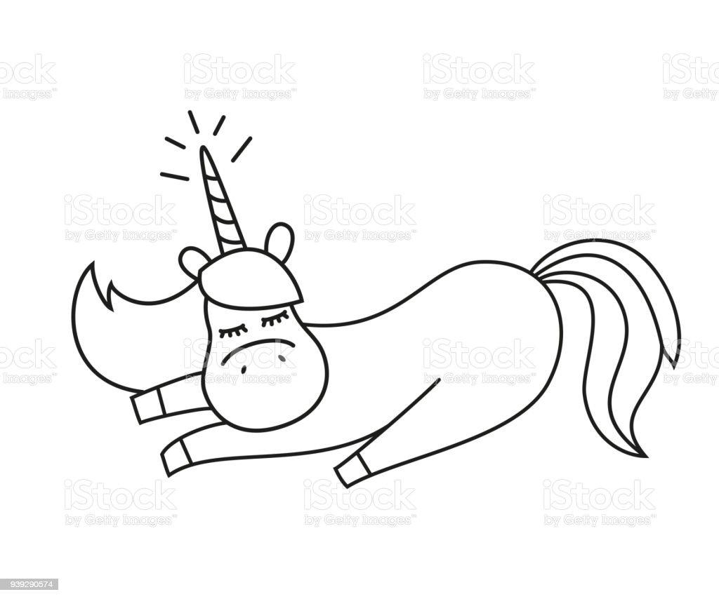 Ilustración de Ilustración Con Lindo Unicornio Para Colorear Libro y ...