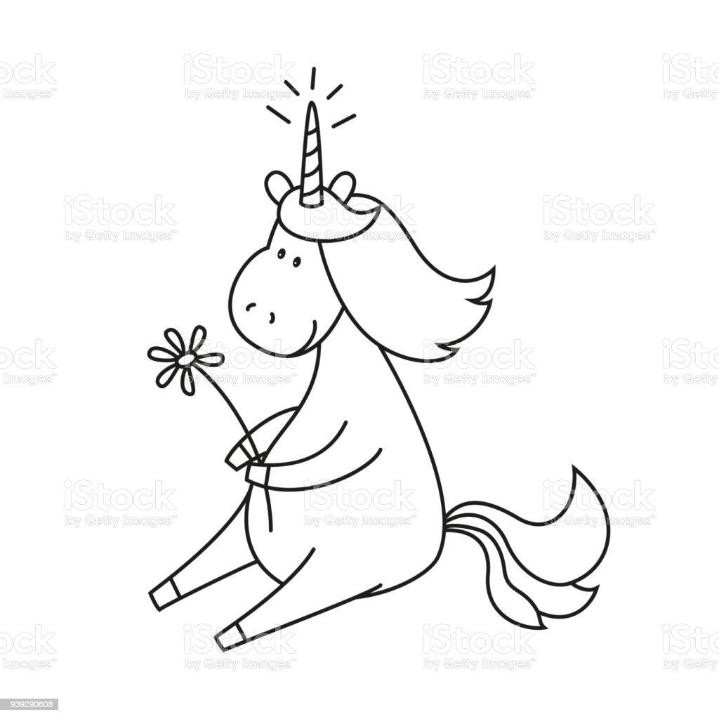 Ilustración De Ilustración Con Lindo Unicornio Para Colorear