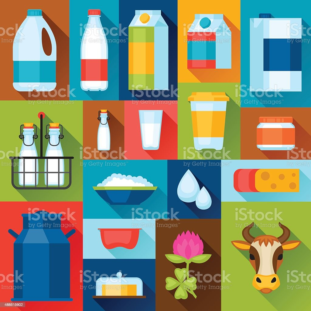Illustration with dairy products in flat design style vector art illustration