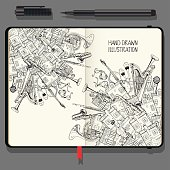 Illustration With Different Houses and Music Instruments. Music Festival in the City. Vector Notebooks with Fine Liner Pen and Hand Drawn Doodles. Black and White illustration.