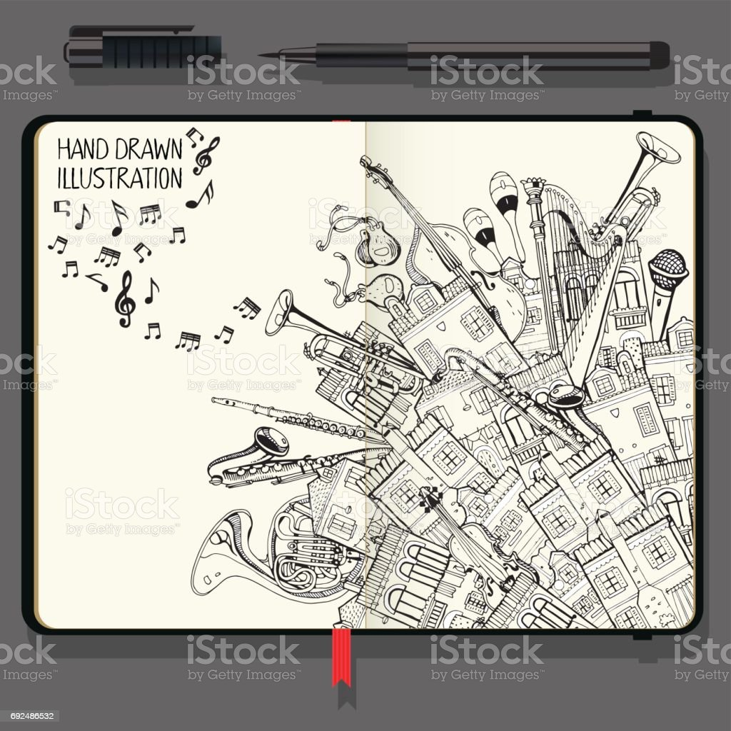 Illustration With Different Houses and Music Instruments. Music Festival in the City. Vector Notebooks with Fine Liner Pen and Hand Drawn Doodles. vector art illustration