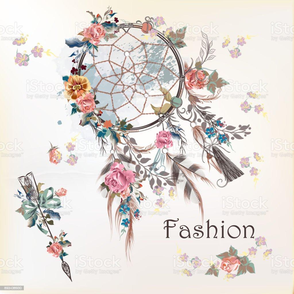 Illustration avec le capteur de rêves et de fleurs. Conception de dessinés à la main - Illustration vectorielle