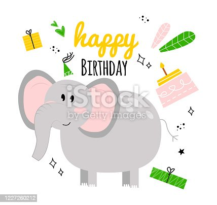 istock Illustration with elephant, cake, gift, inscription happy birthday. Happy birhday greeting card with baby elephant. Greeting card with elephant happy birthday with holiday hat, gift, cake, leaves. 1227260212
