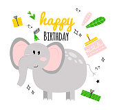 istock Illustration with elephant, cake, gift, inscription happy birthday. Happy birhday greeting card with baby elephant. Greeting card with elephant happy birthday with holiday hat, gift, cake, leaves. 1227260212