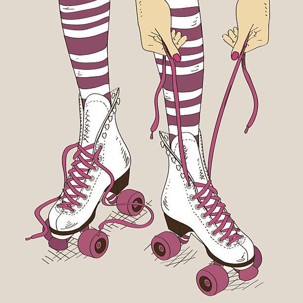 illustration mit weibliche beine in retro-rollerskates - rollschuh stock-grafiken, -clipart, -cartoons und -symbole