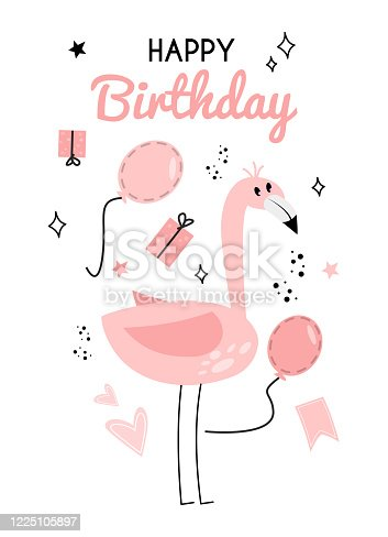 istock Illustration with flamingo and the inscription happy birhday. Greeting card with flamingo, gift box, balloon and the inscription. Happy birthday greeting card with flamingos, gifts, balloons. 1225105897