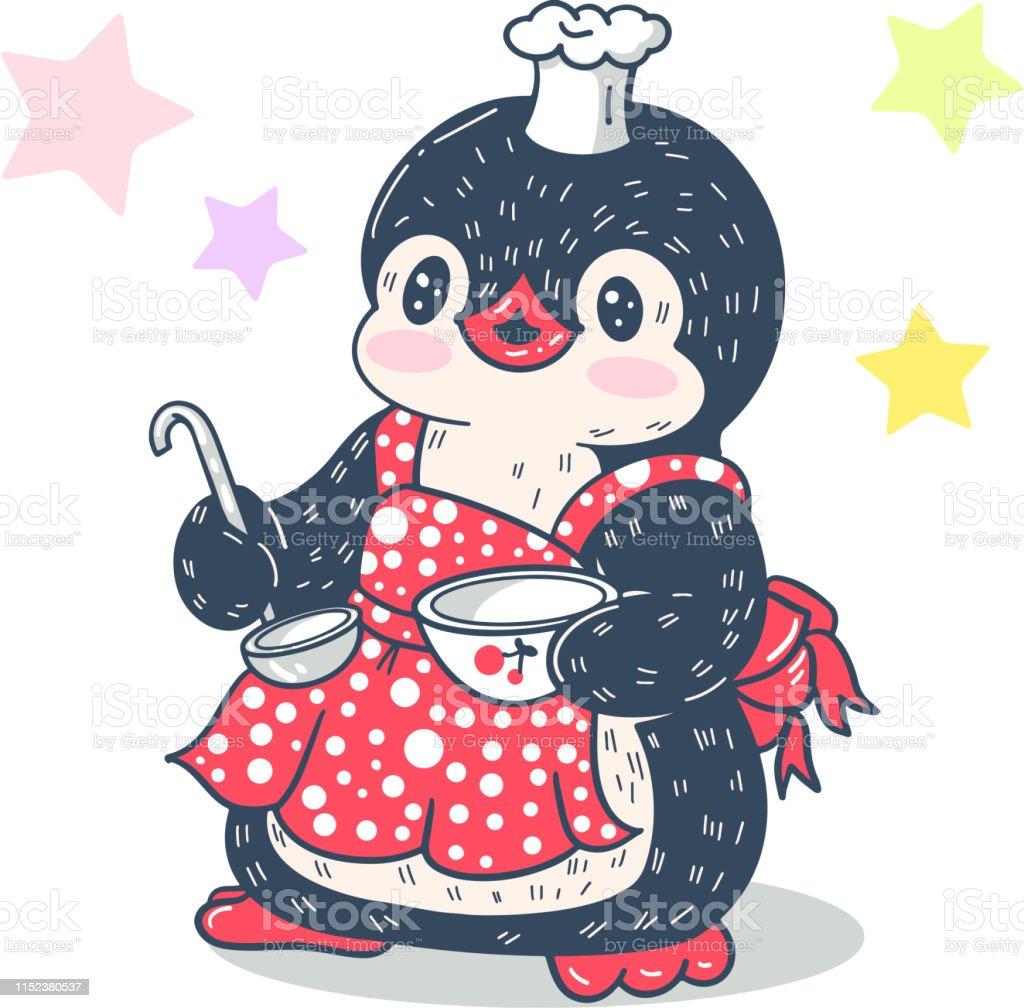 Illustration With Funny Cartoon Penguin Stock Illustration