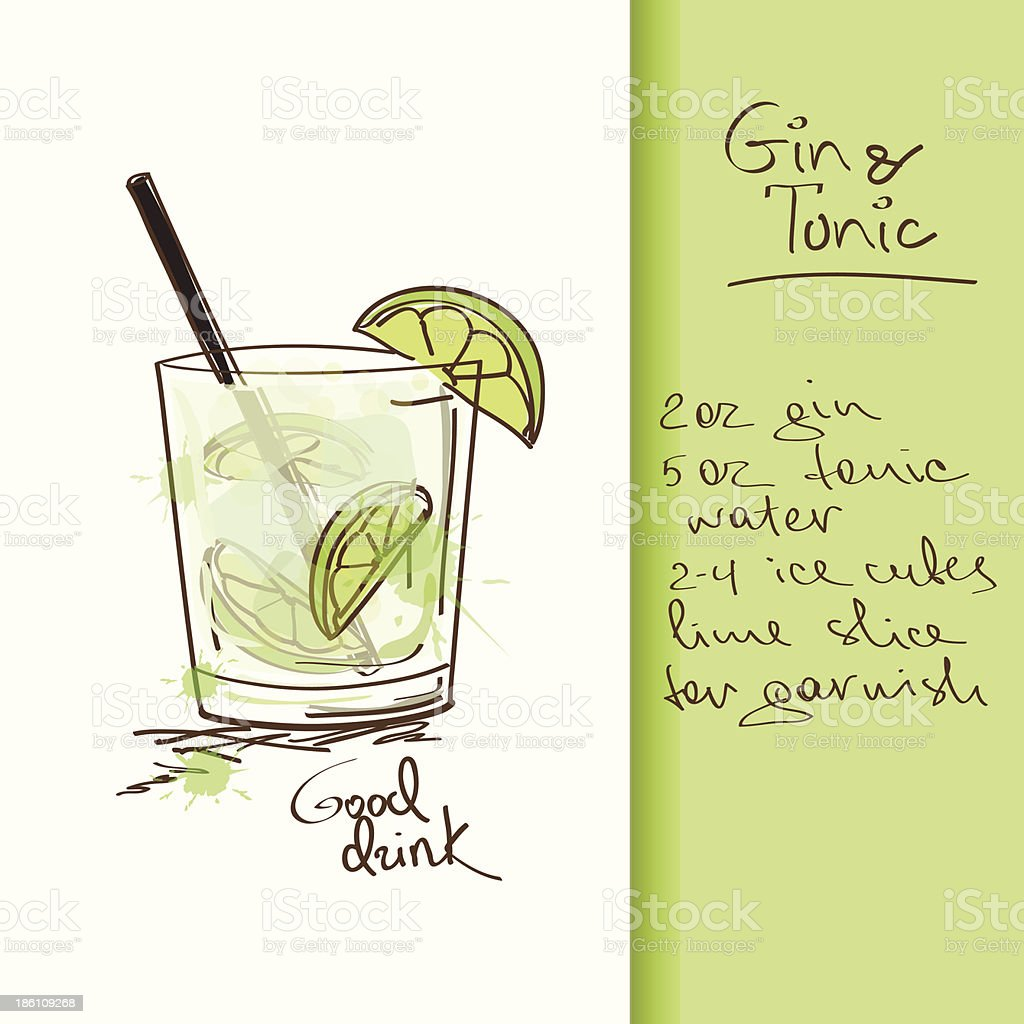 Illustration with Gin and Tonic cocktail Illustration with hand drawn Gin and Tonic cocktail. Included Ai Alcohol - Drink stock vector