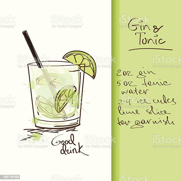 Illustration With Gin And Tonic Cocktail Stock Illustration - Download Image Now
