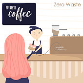 Illustration with girl in coffee house and barista. Attributes of zero waste lifestyle
