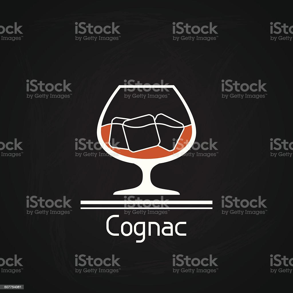Illustration with glass of cognac for menu cover. vector art illustration