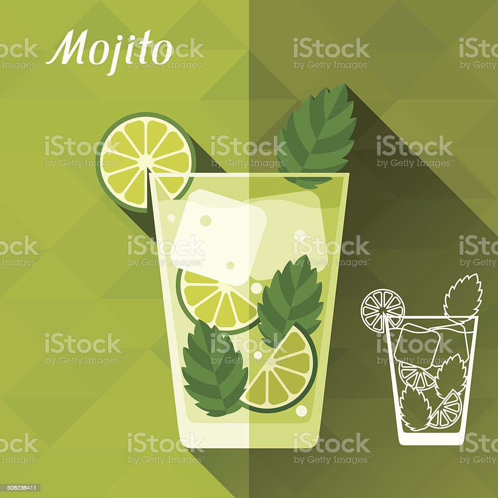 Illustration with glass of mojito in flat design style. vector art illustration