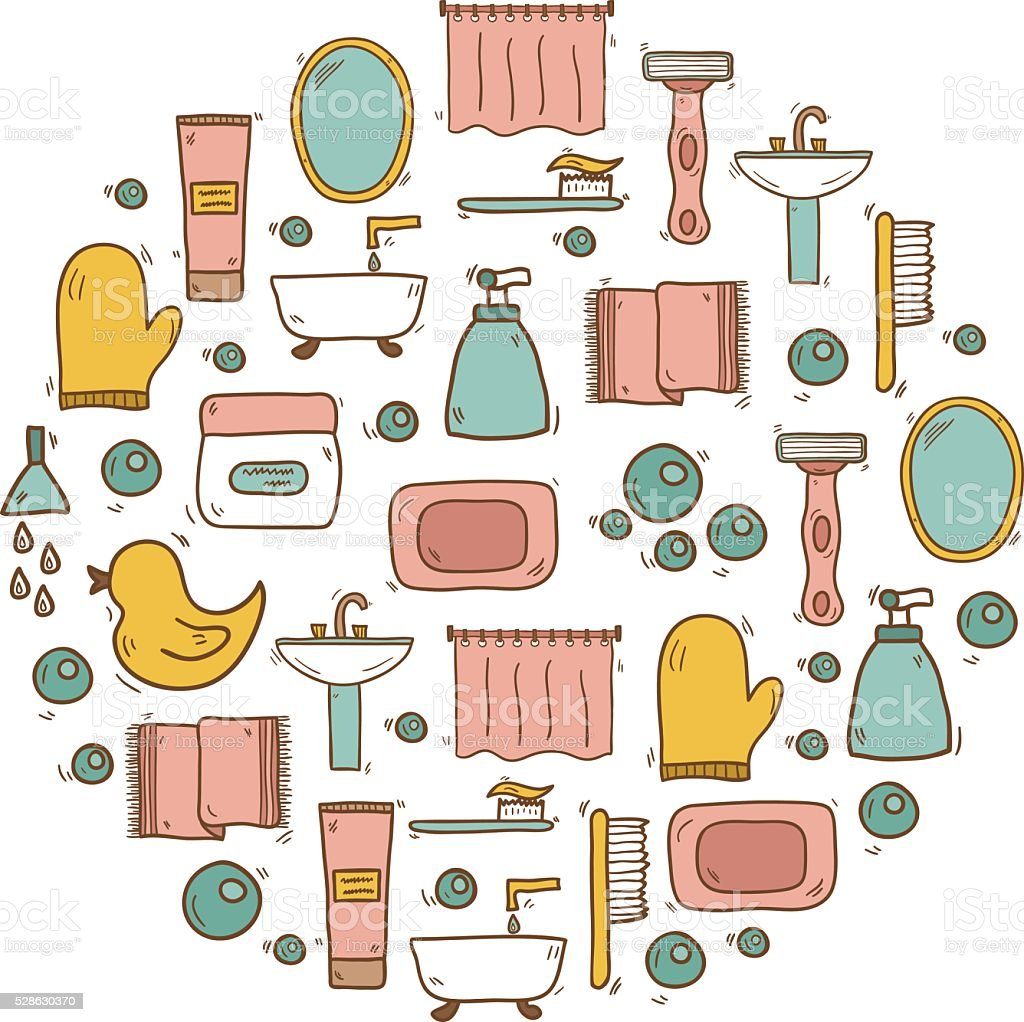 Illustration With Hand Drawn Cartoon Bathroom Background Royalty Free