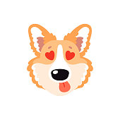 Illustration with happy Corgi dog in love. Cute childish design, kid background element for room birthday decor, baby shower invitation card, t-shirt print, positive emotions, badge