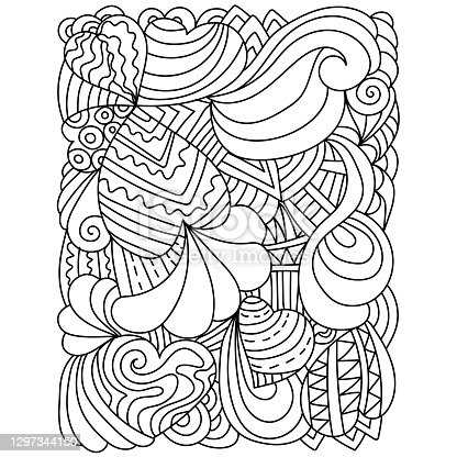 Illustration with hearts and ornate patterns, anti stress coloring page for Valentine's day or create coloring book