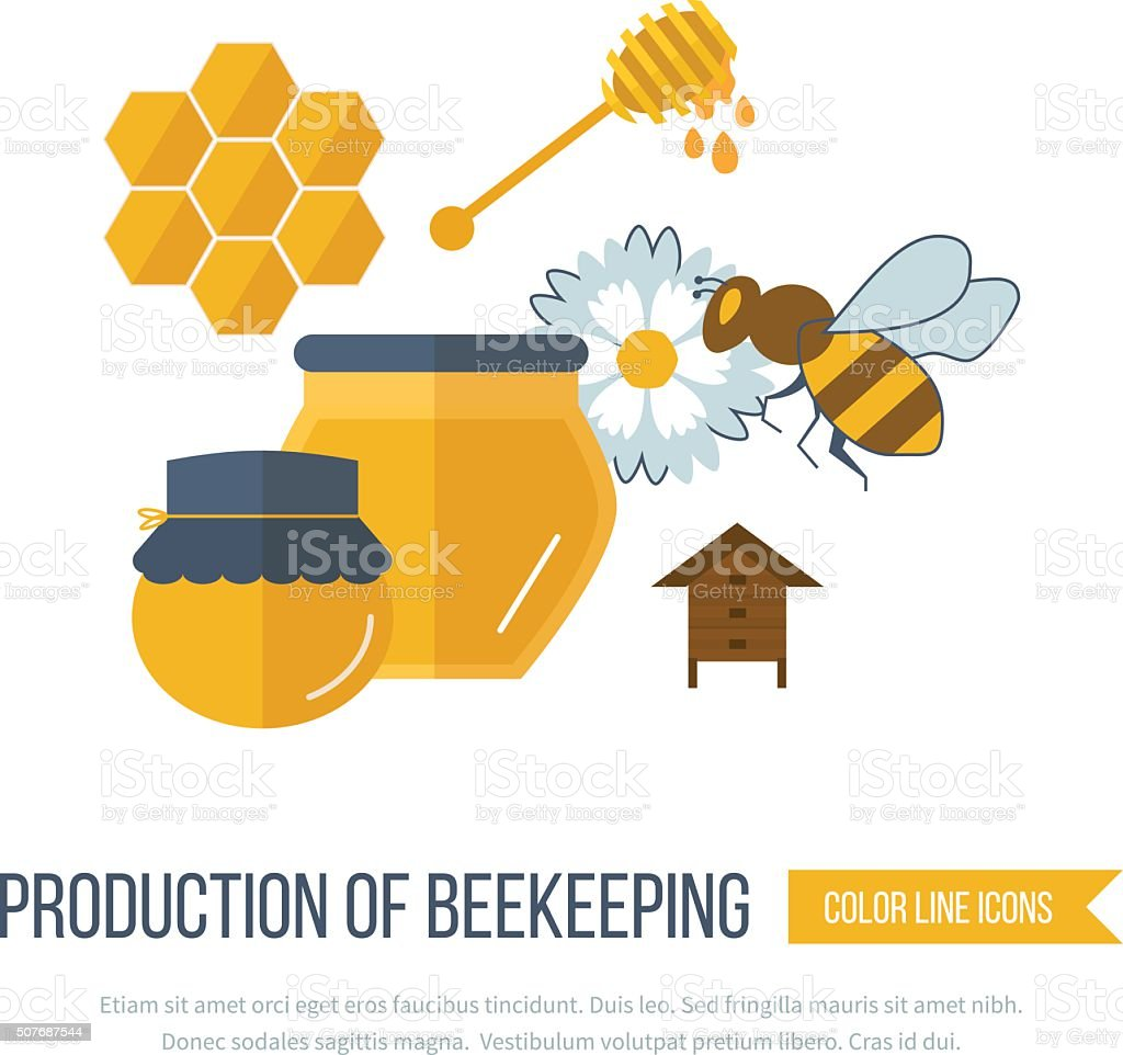 Illustration with icons of  products beekeeping vector art illustration