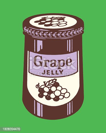 istock Illustration with jar of grape jam 1328204470