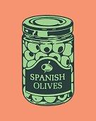 Illustration with jar of olives