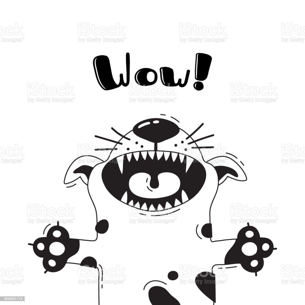 叫び うわーうれしそうな犬のイラスト面白いアバターのデザインポスター