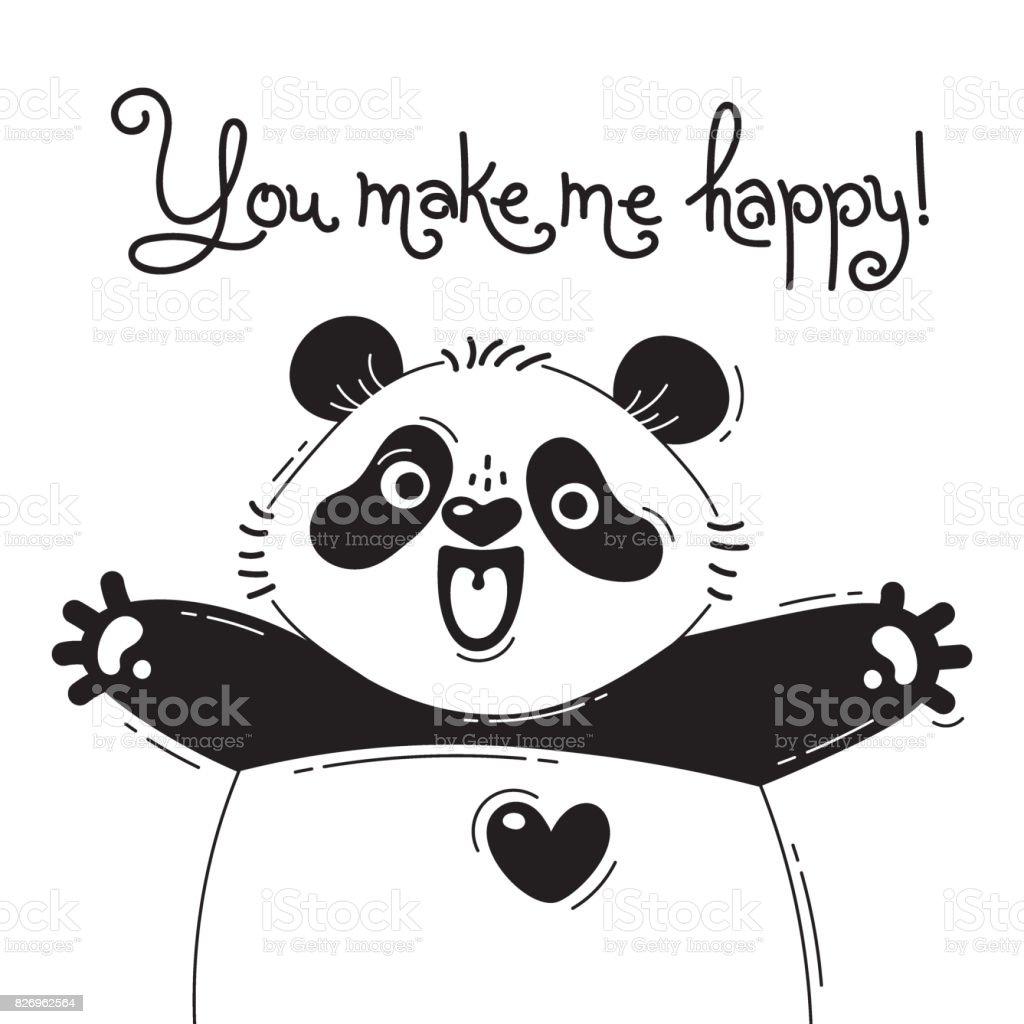 言う あなたは私を幸せうれしそうなパンダのイラスト面白いアバターや