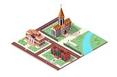 Illustration with Library, Cathedral and Museum. Isometric City Landscape with Beautiful Old Buildings and Green Lawns and Trees, Drive Cars on Roads, People Walk on Street and Park with River