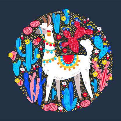 Illustration with llama and cactus plants. Vector seamless pattern on botanical background. Greeting card with Alpaca. Round composition on dark blue.