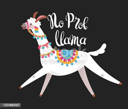 Illustration with llama, composition on black. Vector doodle elements. Greeting card with Alpaca. No prob lama.