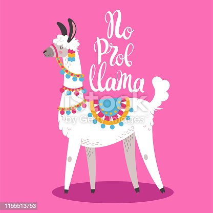 Illustration with llama, composition on pink. Vector doodle elements. Greeting card with Alpaca. No prob lama.