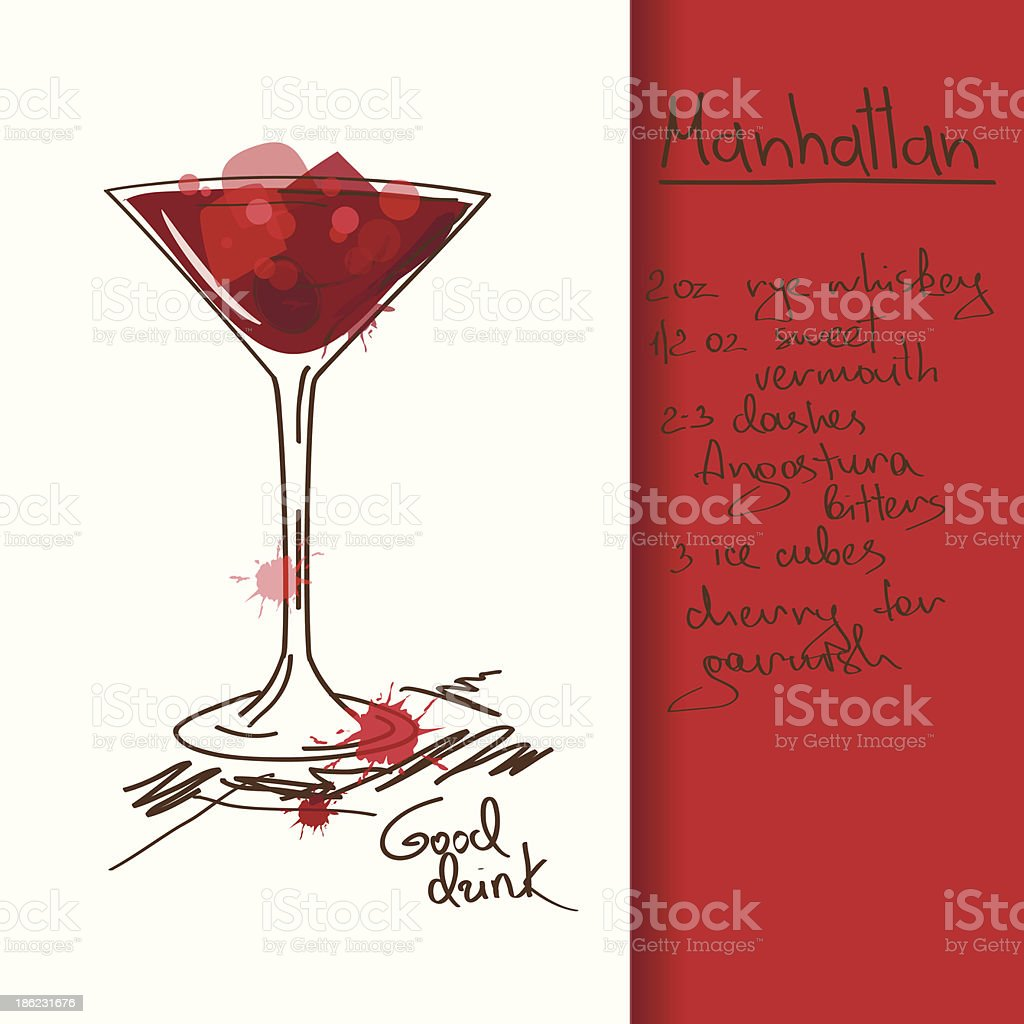 Illustration with Manhattan cocktail royalty-free stock vector art