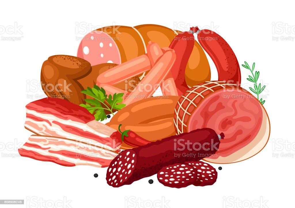 Illustration with meat products. Illustration of sausages, bacon and ham vector art illustration