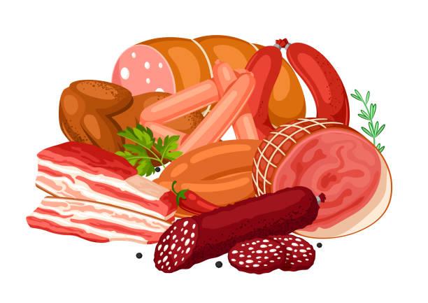 abbildung mit fleischprodukten. abbildung von würstchen, speck und schinken - schweinebauch stock-grafiken, -clipart, -cartoons und -symbole