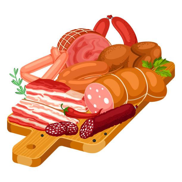 abbildung mit fleischprodukten auf holzbrett. abbildung von würstchen, speck und schinken - schweinebraten stock-grafiken, -clipart, -cartoons und -symbole