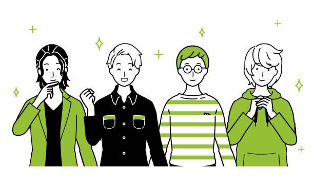 ilustrações de stock, clip art, desenhos animados e ícones de illustration with men lined up. - da cintura para cima