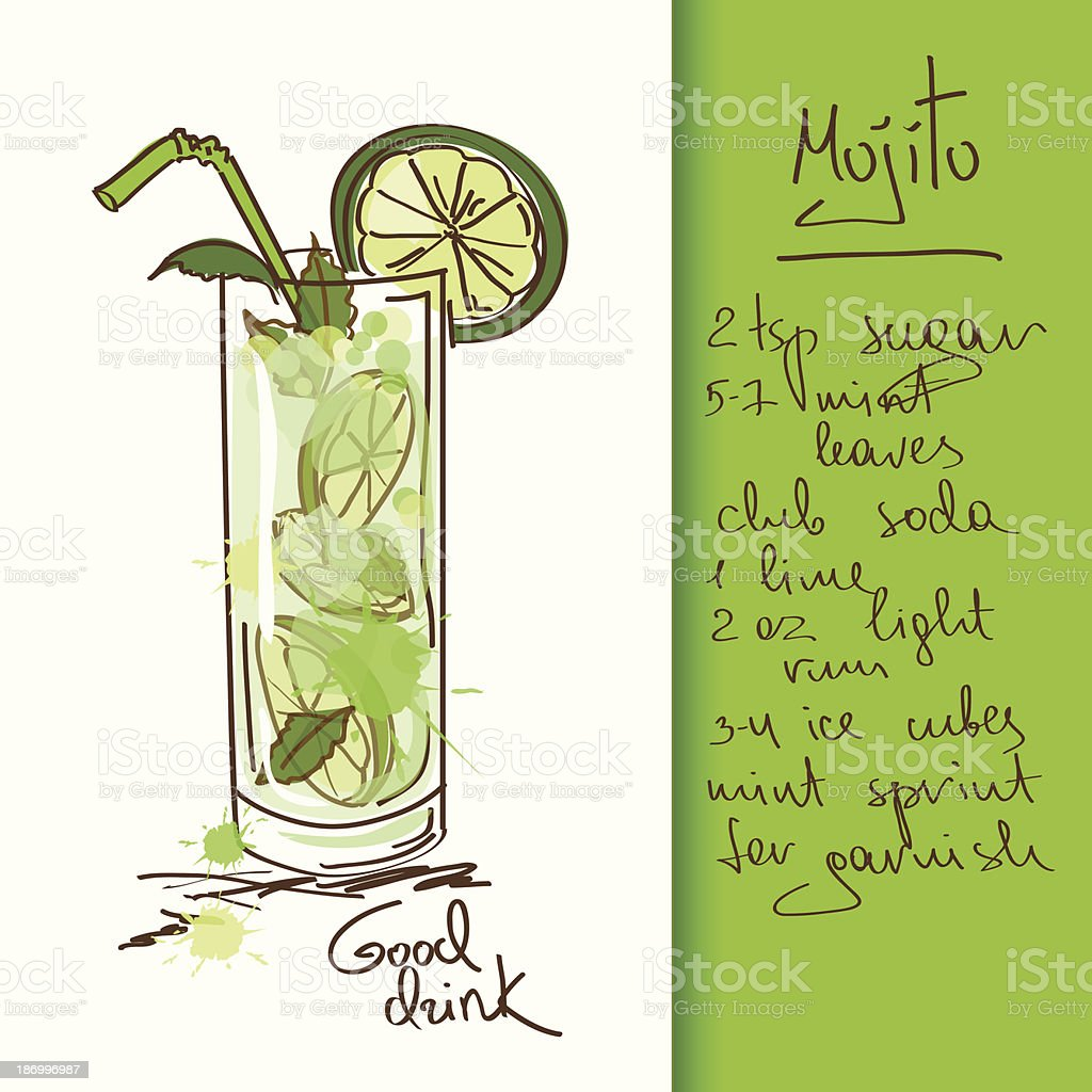 Illustration with Mojito cocktail vector art illustration